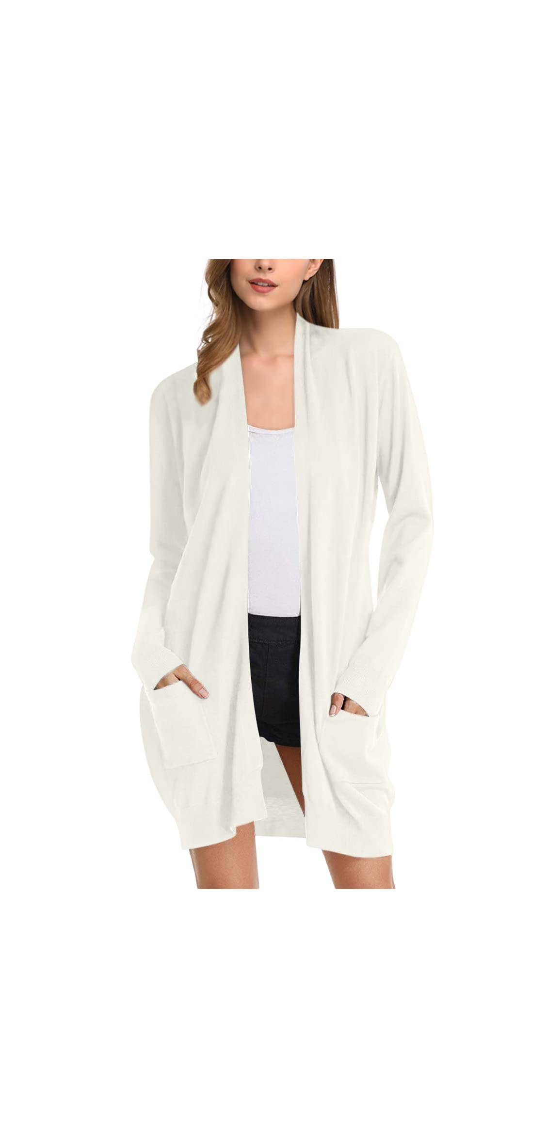 Women Solid Open Front Long Knited Cardigan Sweater