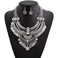 Lanue Fashion Bib Bohemian Statement Coin Necklace and Earrings Punk Ethnic style Jewelry Set for Women (Style 2-silver)