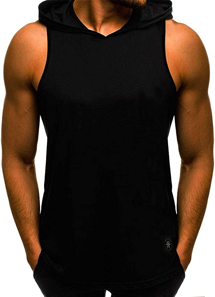 WEIMEITE Hombres de Algodón Sin Mangas con Capucha Bodybuilding Entrenamiento Tank Tops Muscle Fitness Shirts Hombres Sport Chaleco Top