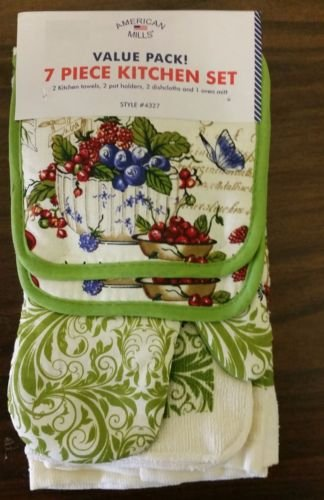 The Pecan Man Home Collection BERRIES Everyday Kitchen Set of 7 2 POT HOLDERS, 1 OVEN MITT,2 DISHCLOTHS & 2 TOWELS by The Pecan Man