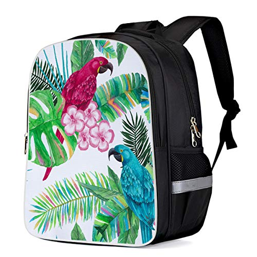 Cool School Backpack Tropical Parrots School Book Backpack for Teens Boys Girls, Plants Flowers Carry Bag Durable Laptop Computer Bag for Day Trips Mountain Sports (Large)