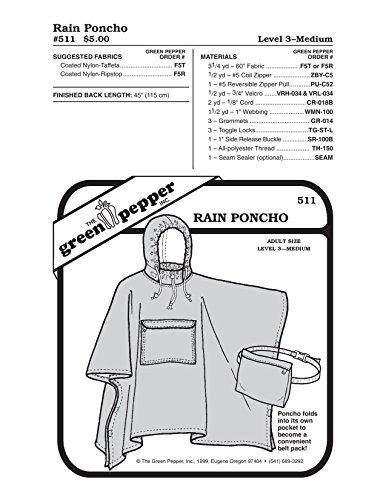 Green Pepper Fabric - Adult Rain Poncho (511GP) Sewing Pattern