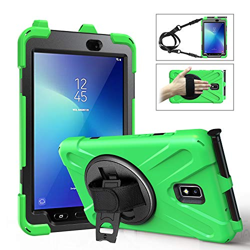 MoKo Case Fit Samsung Galaxy Tab Active 2 8.0, Heavy Duty Shockproof Full-Body Rugged 360 Degree Rotating with Shoulder Strap Stand Cover for Galaxy Tab Active 2 8 SM-T390/T395/T397 Tablet - Green