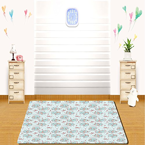 HAIXIA rugs Elephant Nursery Decor Young Wild Animals Pattern for Children Elephant Calves Decorative Baby Blue Red Coral