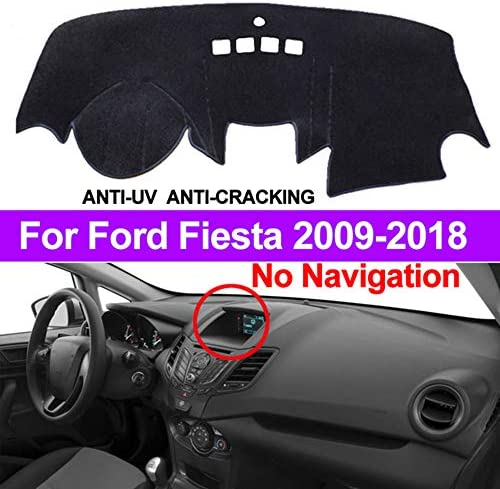 Heads up Display) Ford Fiesta Dash Pad Carpet Anti-UV for Ford Fiesta 2009-2018 Dashboard Dash Protector Dash(Configuration