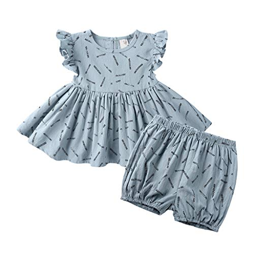 Baby Ruffle Tops Set, Infant Kid Girl Dot Print Sleeveless Blouse+Bread Pants Set Outfits Set lkoezi Summer Loose Clothes Set