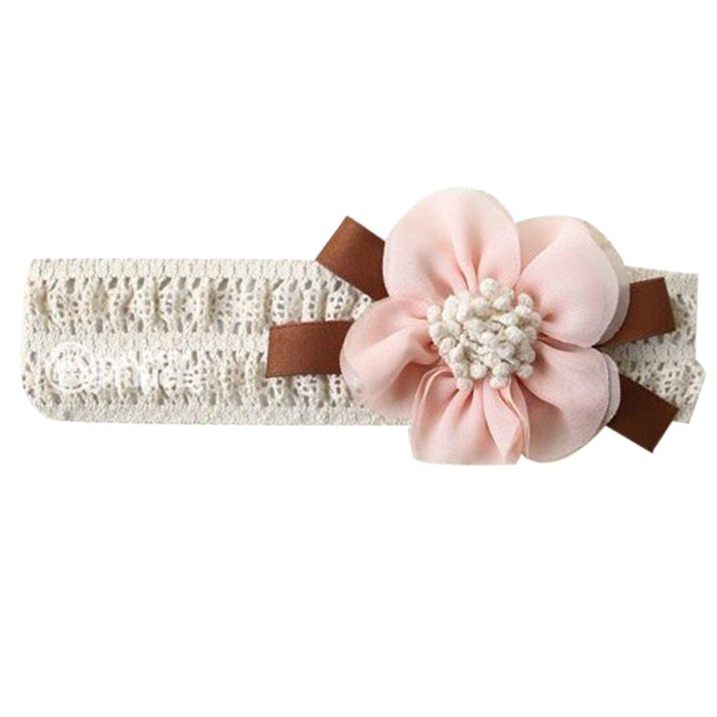 Chilie Accessori per capelli della fascia dei capelli del fiore belli del merletto stretto molle della fascia della neonata Rosa chiaro