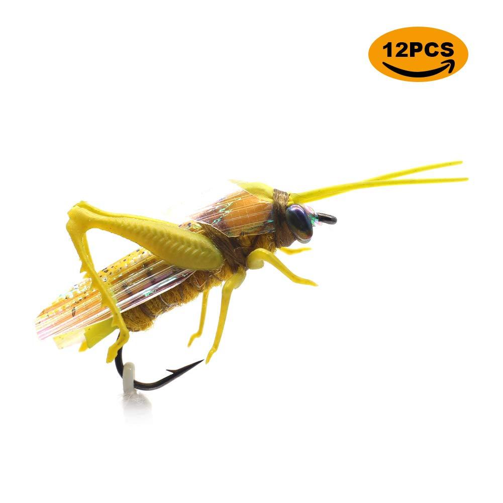 YZD Realistic Grasshopper Dry Fishing Flies Set of 12 Flies Cricket Hopper Fly Fishing Lure Trout Pike Carp Flyfishing