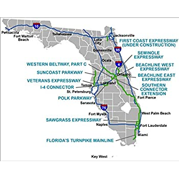 Amazon Com Home Comforts Laminated Map Florida S Turnpike The