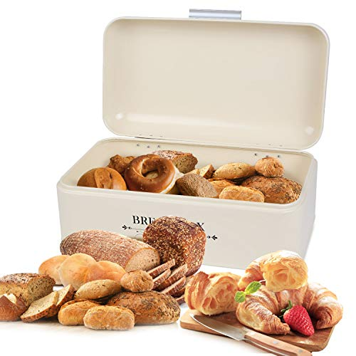 MVPOWER Metal Bread Box Bin Extra Large Capacity Bread Holder Organizer Multipurpose Food Storage Container for Loaves, Pastries and Cookies