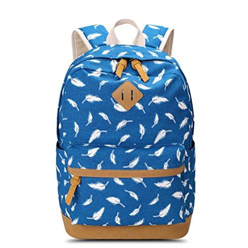 ados d'école sac ordinateur à de bleu en blue de voyage dos imprimer les portable sac plumes sac dos Sac toile pour Winnerbag femmes en à pour Femme sac T6YwTq7P