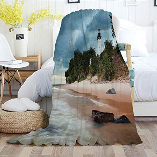 Ylljy00 Lighthouse Decor,Throw Blankets,Flannel Plush Velvety Super Soft Cozy Warm with/Au Sable Lighthouse in Pictured Rock National Lakeshore Michigan USA/Printed Pattern(60