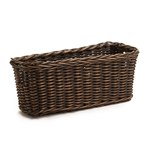 The Basket Lady Petit Pole Handle Wicker Storage Basket. Small, Antique Walnut Brown (Wicker Storage Baskets Small compare prices)
