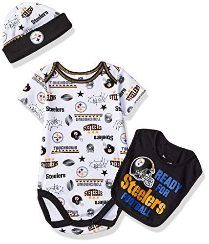 NFL Pittsburgh Steelers Unisex-Baby Bodysuit, Bib & Cap Set, Black, 3-6 -