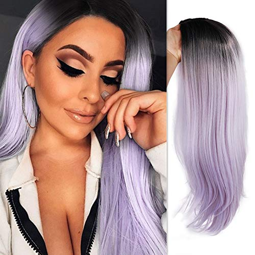 WIGER Ombre Light Purple Wig Dark Roots Middle Part Long Natural Hair Wigs Heat Resistant Synthetic Daily Party Cosplay Full Wigs for Women Girls