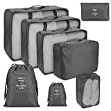 Suneed 8 Pcs Compression Packing Cubes for Travel, Foldable Travel Organizer Cubes for Suitcase Carry On, Lightweight Luggage Storage Bag (Grey)