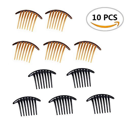 [10PCS Fireboomoon Contemporary Seven Tooth French Twist Comb, Black And Brown(Two colors, each five).] (Brown Twist)