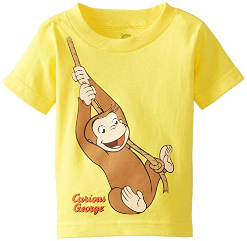 (Curious George Little Boys' Toddler Short Sleeve T-Shirt, Yellow Swing, 4T)