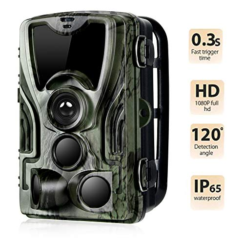 "Suntekcam Trail Camera Wildlife 16MP 1080P Hunting Scouting HD 0.3s Trigger Speed Night Vision 49ft Infrared Cam IP65 Waterproof 2.0""Color TFT LCD 36 LEDs 3 Passive Infrared Sensors"