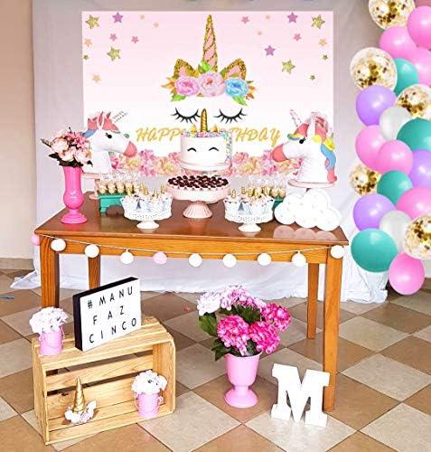 WERNNSAI Rainbow Unicorn Birthday Party Supplies 48 cm x 300 cm Large Happy Birthday Banner for Girls Unicorn Theme Party Decorations Big Yard Sign Photo Background