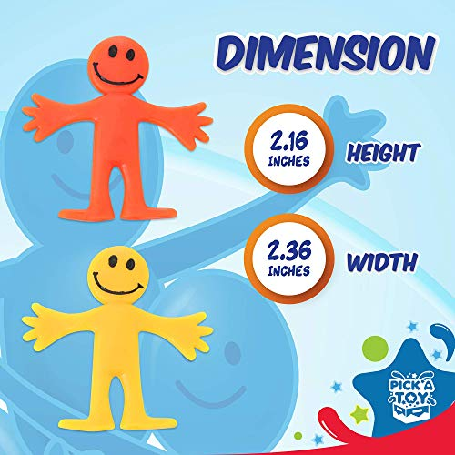 Stretchy Happy Man Toy (Set of 24) Sensory Gel Toy for Kids and Adults, Stress and Anxiety Relief Fidget Toys for Autism and ADHD, Cute, Colorful Party Favor Toy with Colorful Box [Ages 3]