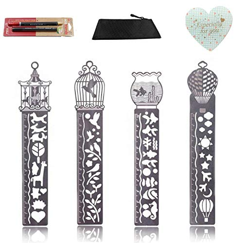 Metal Bookmark Ruler Set of 4, YARKOR Stainless Steel Drawing Painting Stencils Scale Template, Hollow Drawing Template Icon Tool DIY Photo Album/Diary Accessories Ruler(2B Pencil Set)