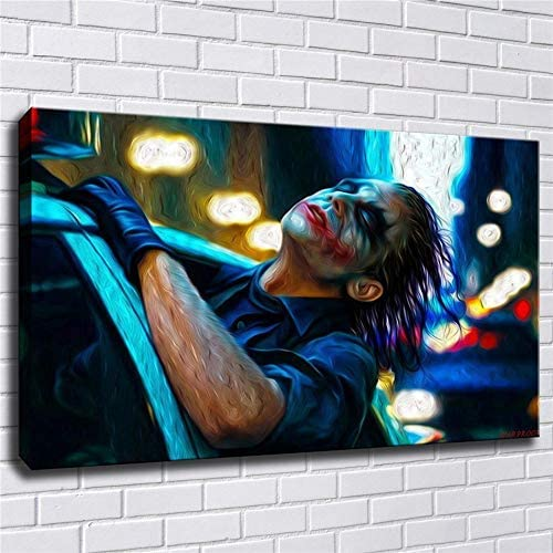 lihuaiart Canvas Wall Art Home Wall Decorations for Bedroom Living Room Oil Paintings Canvas Prints Joker 24x36inch Framed