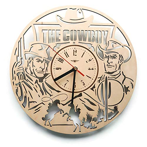 Western Cowboy Analog Wood Wall Clock - Non Ticking Quartz Wall Clocks Battery Operated - Cute Rustic Bedroom Kitchen Office Garage Wall Decor - Unique Custom And Personalized Gifts - 12 Inch