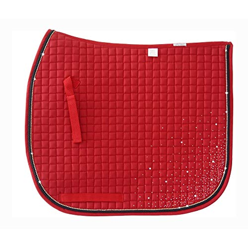 Pacific Rim PRI Quilted Dressage Pad with Rhinestone Accent Cord and Rhinestone Corners (Red 7)