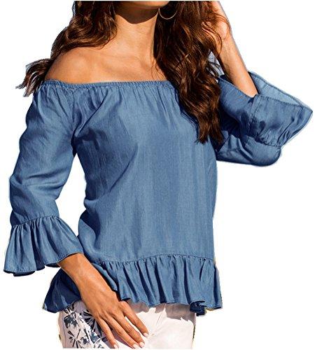 womens-blue-jean-legging-off-shoulder-ruffle-longe-sleeve-blouse-tops