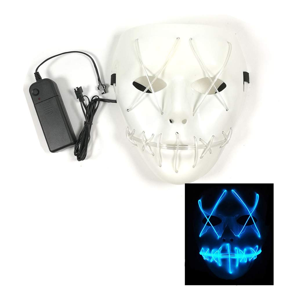 ZALU Halloween Glowing Mask, LED Light up Masks for Gifts (Blue)