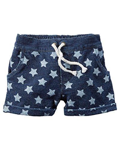 4-Kids Carters Little Girls Star Print Indigo French Terry Shorts