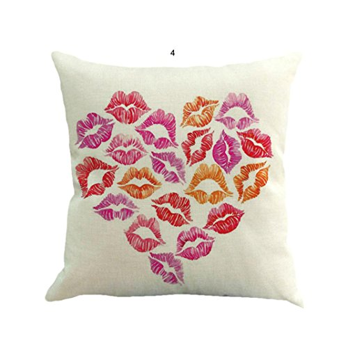 Cushion Cover Home Decor, Leyorie Valentine's Day Heart Shape Fashion Throw Pillow Cases Cafe Sofa (D Lips - Shape Valentine