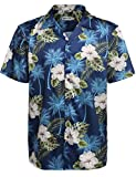 HOTOUCH Mens Hibiscus Shirt Aloha Hawaiian Shirt Navy Blue L