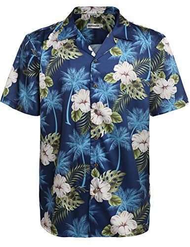 (HOTOUCH Mens Hawaiian Shirts Beach Holiday Aloha Party Button Up Shirt Navy Blue XL)