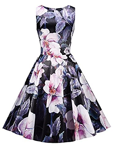 ARANEE Vintage Classy Floral Sleeveless Party Picnic Party Cocktail Dress (S, Floral 1)