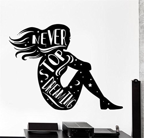 parere Vinyl saying lettering wall art inspirational sign wall quote decor Qutes Girl silhouette Motivation Stars Never Stop Dreaming -