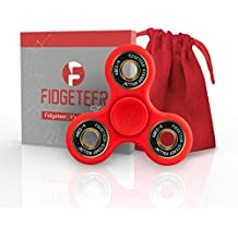 Fidgeteer Fidget Spinner EDC Toy | Anxiety and Stress Relief | Ceramic Bearings | Red