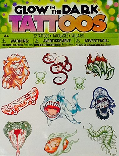 Temporary Tattoos ~ Glow in the Dark 1 ~ Savvi ~ 20 Count ~ Snake Skull Pirate Sport
