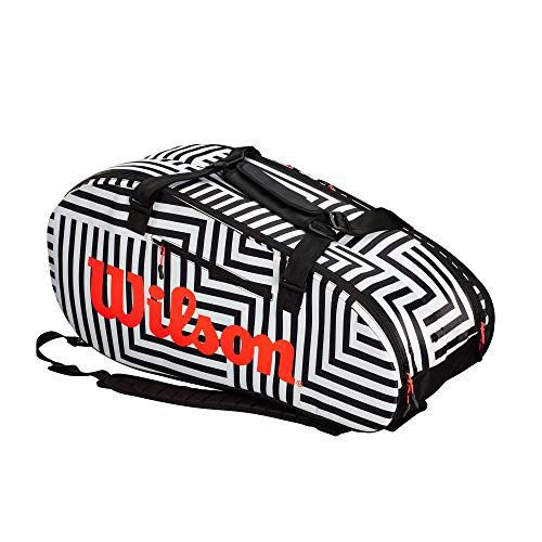 (Wilson Super Tour Bold Large 2 Compartment Tennis Bag (Black/White))