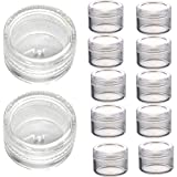 Susenstone 50Pcs Clear Plastic Empty Cosmetic Sample Containers Jars Pots Small 3g