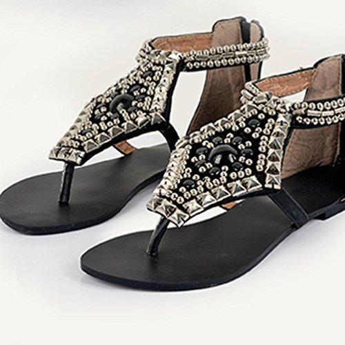 Boucle Noir Perlée Sandales Tongs Clip Toe Flats Herringbone NiSeng Peep Flip Femme Flops Bohême Vintage Sandales Toe aRqC8