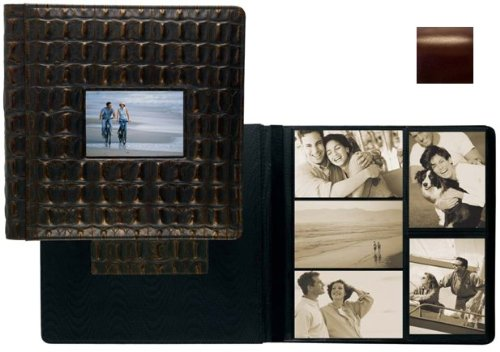 ROMA BROWN smooth grain leather #113 window album with 5-at-a-time pages by Raika - 4x6