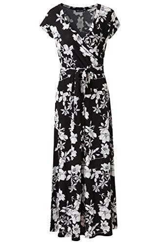 KRANDA Womens Vintage Floral Print Short Sleeve Maxi Long Party Dress (X-Large, Black White)