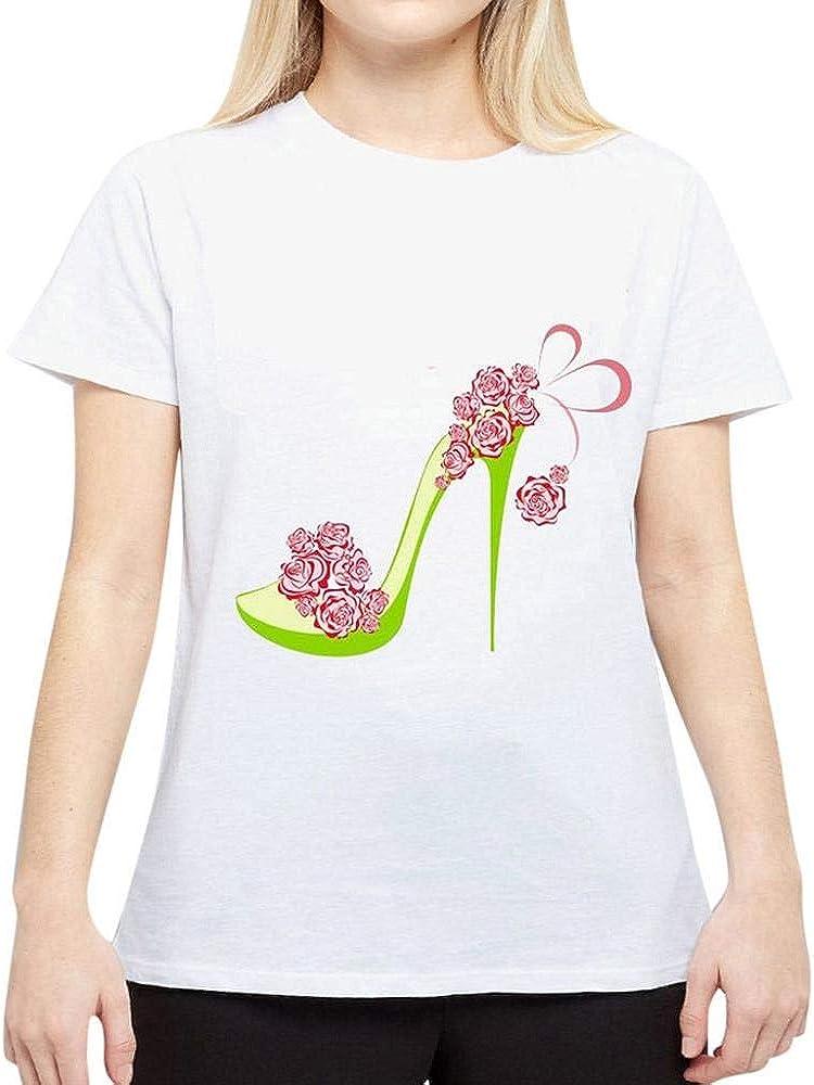 Logobeing Blusa de Mujer - Ropa de Mujer Verano Niñas Manga Corta Camiseta Blanca Personalidad Sandalias de Tacón Alto Impresión de Dibujos Animados Cuello Redondo - XY59 (Blanco, S): Amazon.es: Ropa y