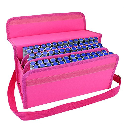 80 Slot Maker Pen Case Lipstick Case - Pistha Maker Case Holder Organization with Carrying Handle and Baldric for Primascolor Marker and Copic Marker, Liquid Highlighter, or Other Type (Makeup In The 80s)