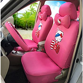 rmrp88 Hello Kitty Universal Car Seat Covers Full Set Car Steering Wheel Cover (Peach)