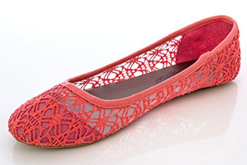 Breathable Albert Charles Crochet Ballet Lace Women's Coral Flat qE4d4z6