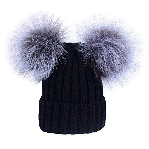 Women's Winter Knit Hat Beanie With Double Real Silver Fox Fur Pom Pom Warm Ski Snowboard Cap ()