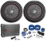 (2) Kicker 43CWRT101 COMPRT10 10' 1600W Car Subwoofers+Mono Amplifier+Amp Kit
